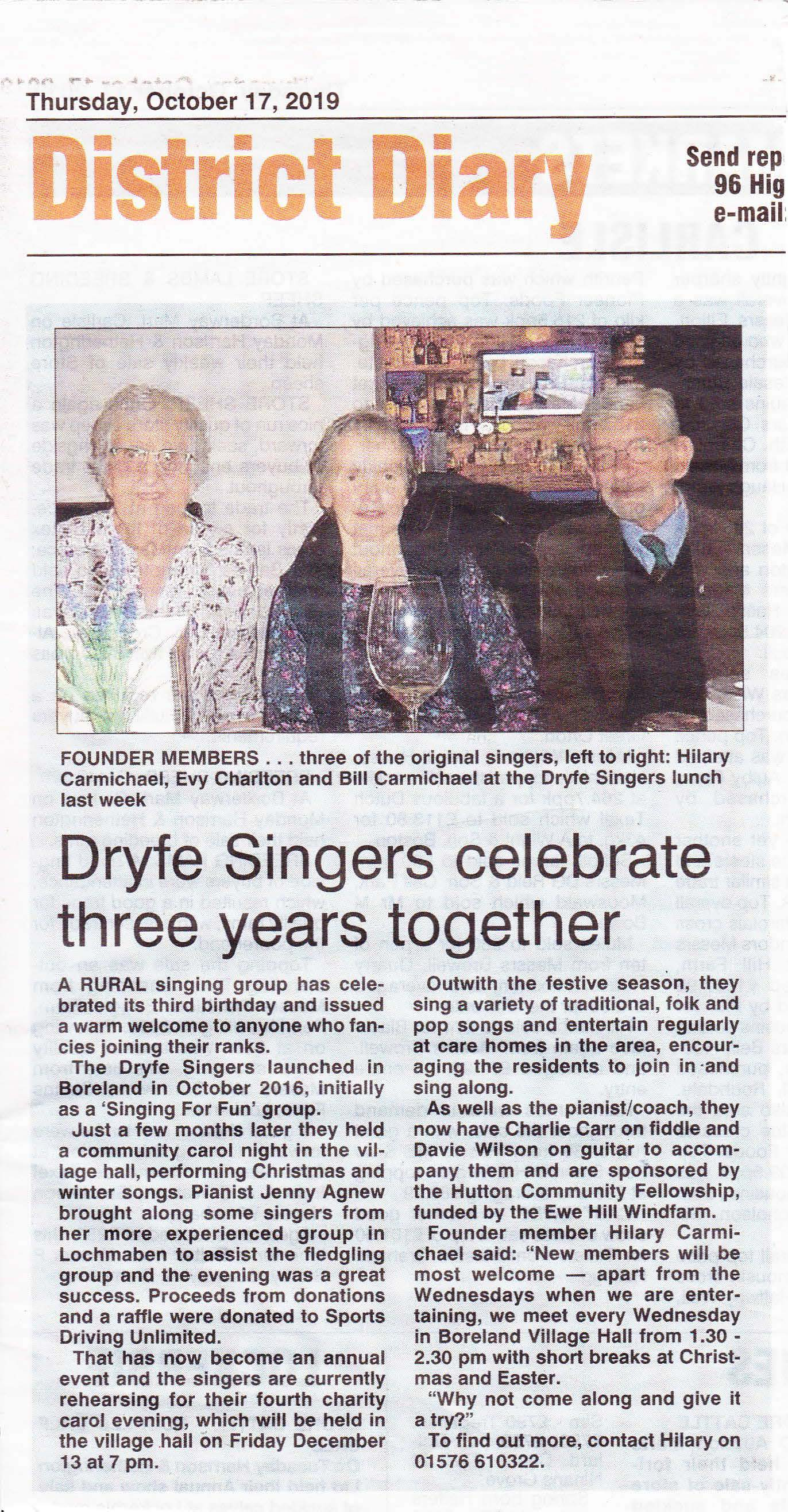 Dryfe Singers local paper article